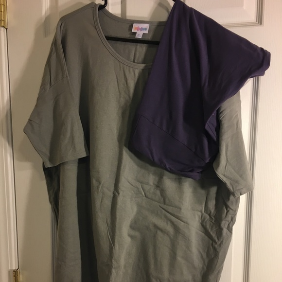 982015b7891865 LuLaRoe Tops | Xl Grey Irma Solid Tc Purple Leggings | Poshmark